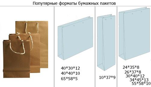размеры бумажных пакетов